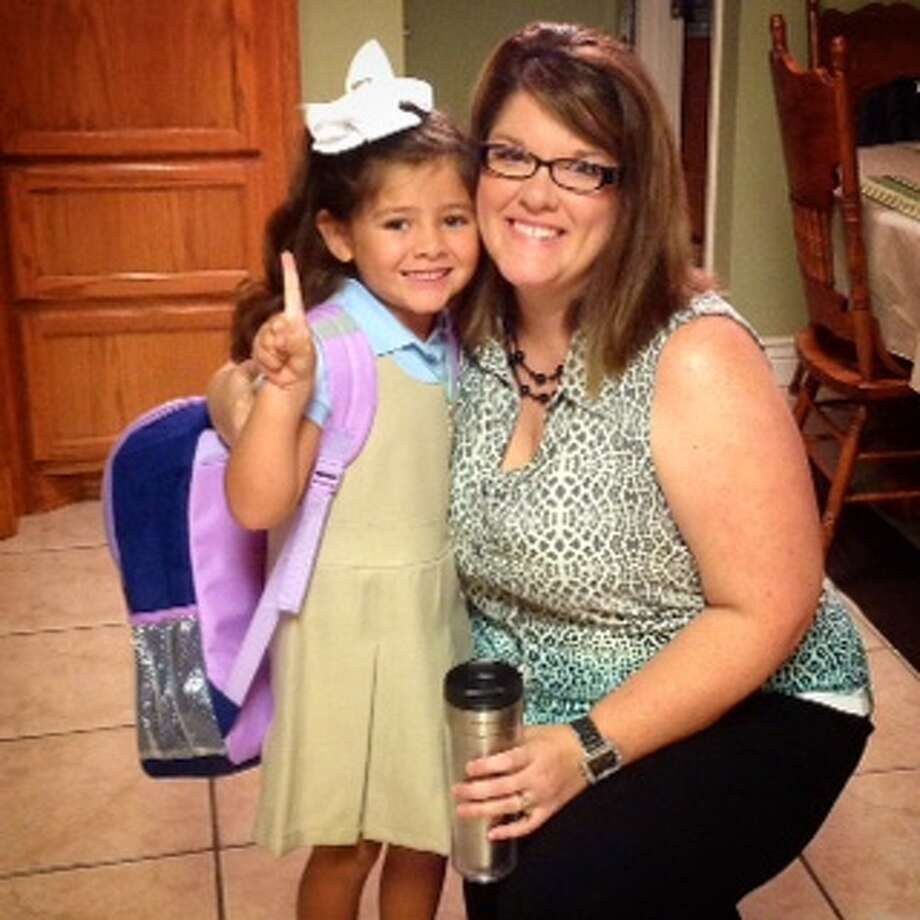 Addison Tobias will start kindergarten today at West Orange-Stark Elementary School, where her mom Paige is a second grade teacher. Photo: Mike Tobias
