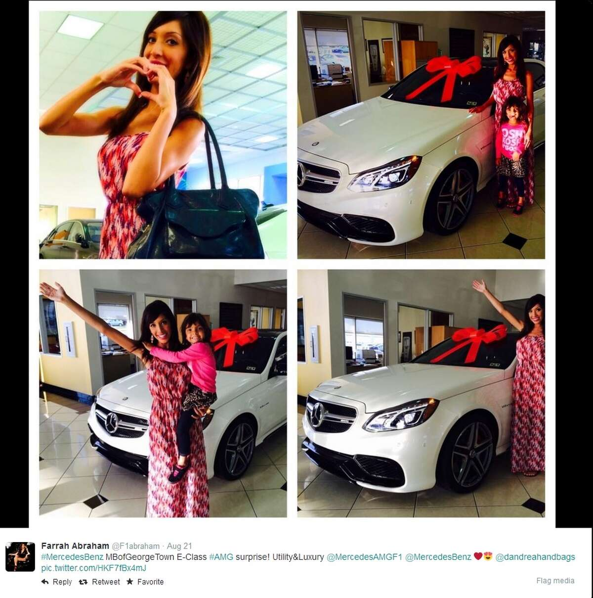 Farrah Abraham tweeted this photo of her new Mercedes-Benz on August 21, 2014 from the dealership in Georgetown. To find out which other celebrities have been strippers in the past, click through the slideshow.