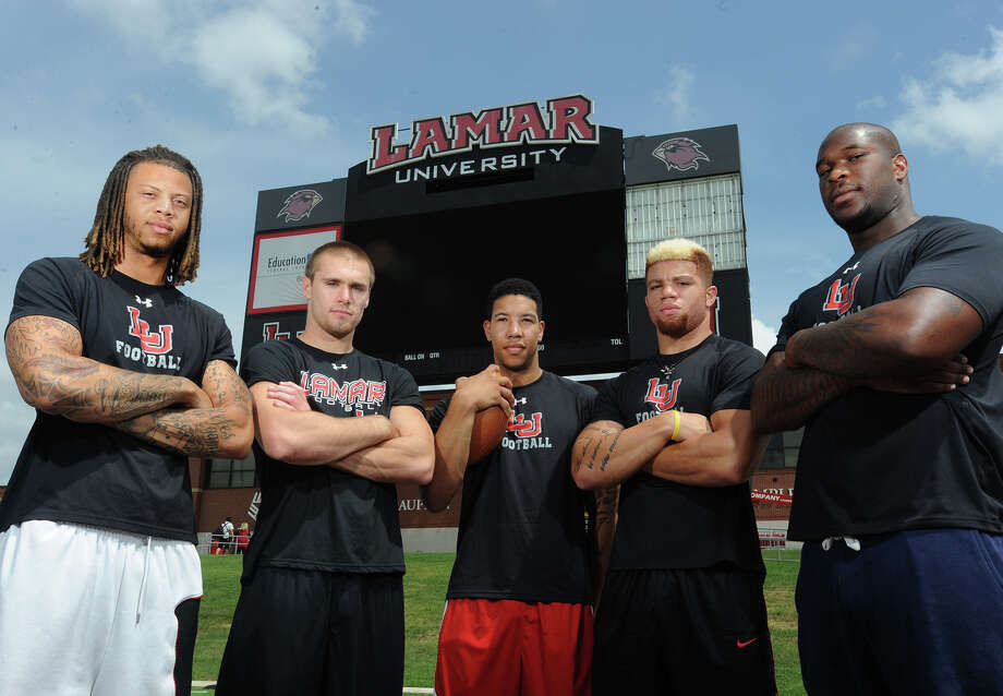 From left, Mark Roberts, Caleb Berry Reggie Begelton, Kevin Johnson and Joe Okafor are Lamar's senior players for the 2014 season.