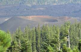 """Cinder Cone looms over the """"Fantastic Lava Beds"""" at Lassen Volcanic National Park"""