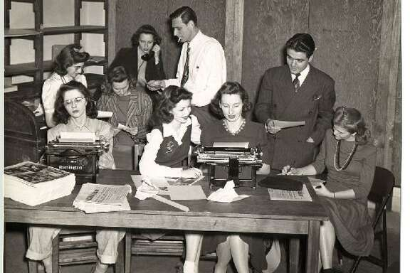 The Daily Cougar newsroom, circa 1940s. No, the author of this article is not in the photo.