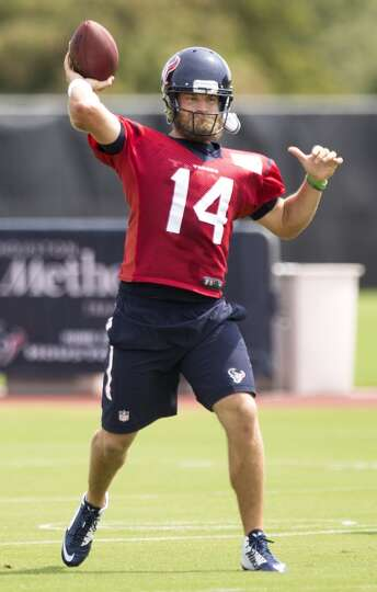 Houston Texans quarterback Ryan Fitzpatrick throws a pass during Texans practice at the Methodist Tr