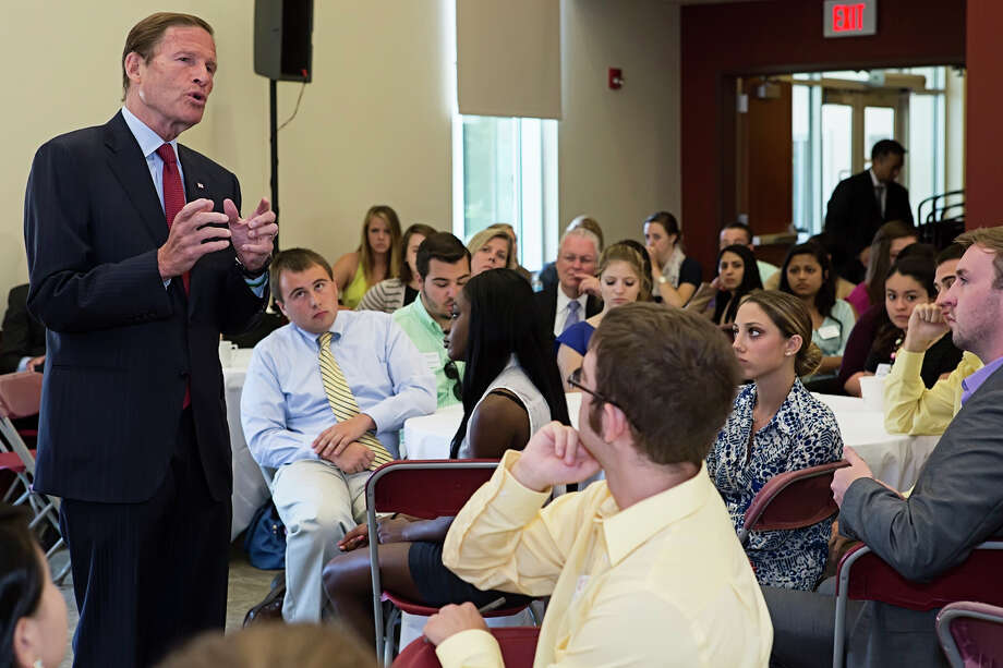 Sen. Richard Blumenthal, D-Conn., spoke to students at Fairfield University on Monday, Aug. 25. Blumenthal was looking for feedback on pending federal legislation regarding campus sex assault. Photo: Gwendolyn Pellegrino / Connecticut Post Contributed