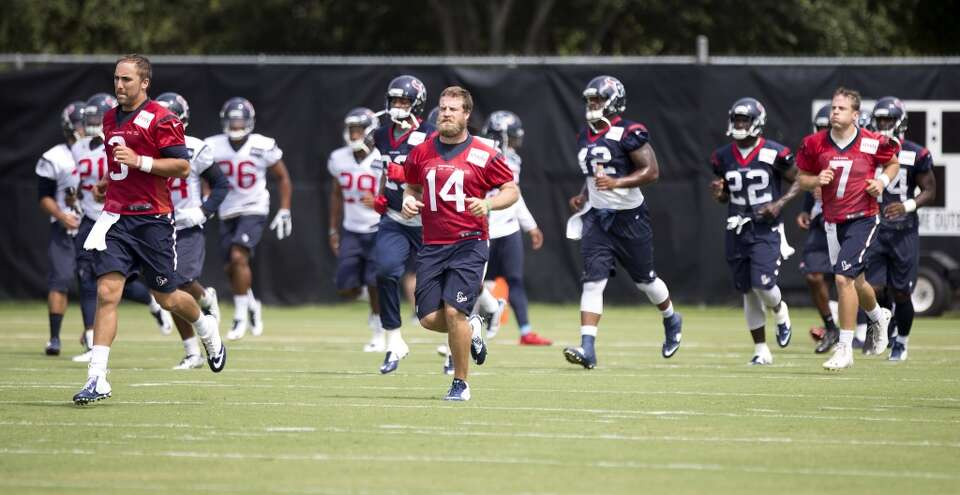 Day 19: August 25   Texans quarterbacks Tom Savage (3),  Ryan Fitzp