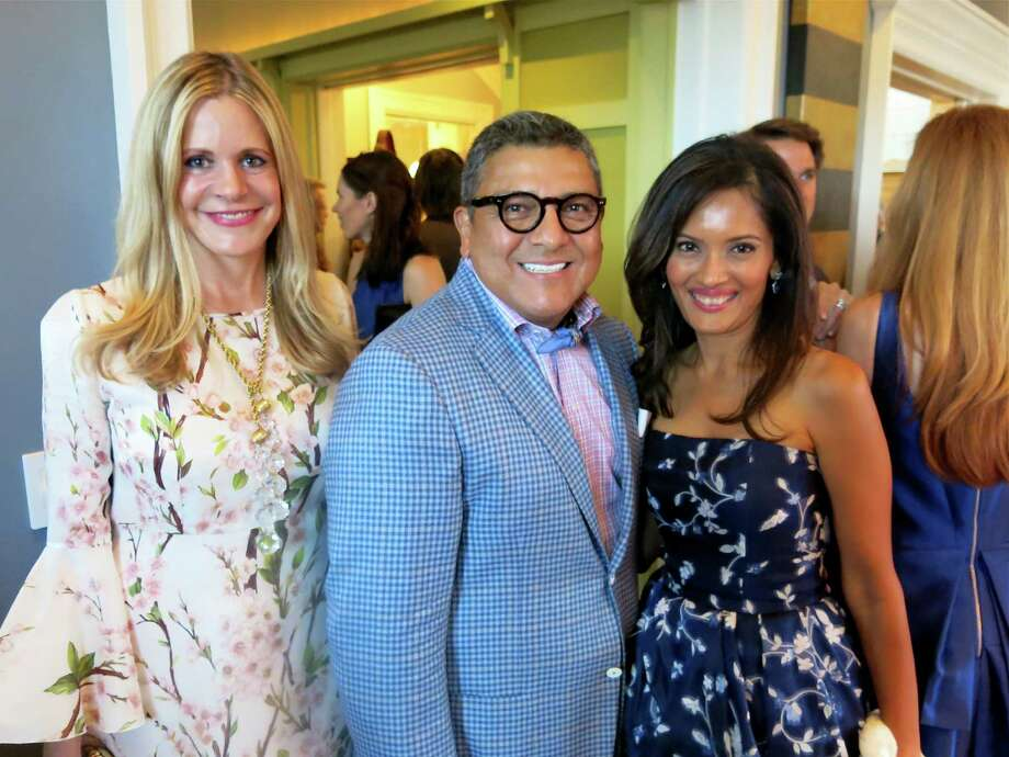 Mary Beth Shimmon (left) with Opera Ball designer J. Riccardo Benavides and Komal Shah at the pre-Opera Ball party. Aug 2014. By Catherine Bigelow. Photo: Catherine Bigelow / Special To The Chronicle / ONLINE_YES