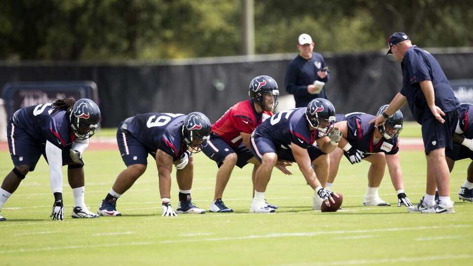 Houston Texans quarterback Ryan Fitzpatrick (14) lines up behind the Texans offensive line during Te