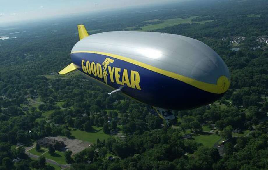 The Goodyear Tire & Rubber Company's newest airship, Wingfoot One, is shown in flight. Photo: Goodyear