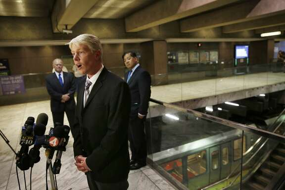 Richard Allen, UC Berkeley Seismological Laboratory director,  speaks during a press conference on BART's earthquake preparedness at the Embarcadero BART station on Monday, August 25,  2014 in San Francisco,  Calif.
