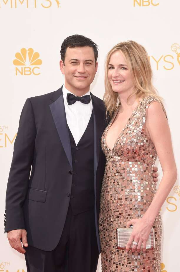TV personality Jimmy Kimmel and writer Molly McNearney attend the 66th Annual Primetime Emmy Awards held at Nokia Theatre L.A. Live on August 25, 2014 in Los Angeles, California. Photo: Jason Merritt, Getty Images