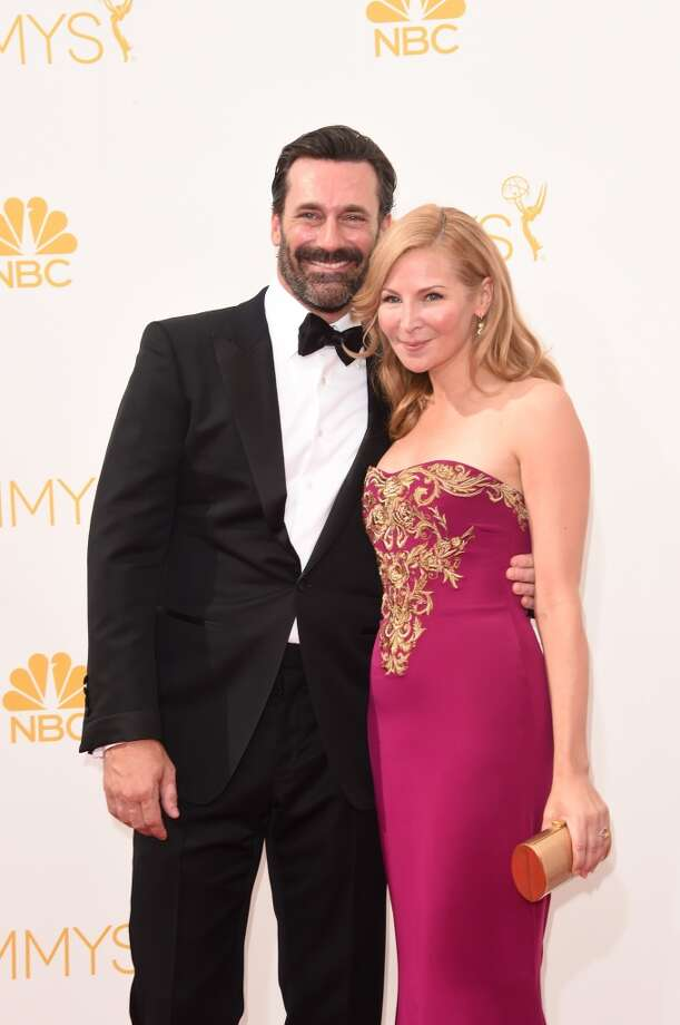 Actors Jon Hamm and Jennifer Westfeldt attend the 66th Annual Primetime Emmy Awards held at Nokia Theatre L.A. Live on August 25, 2014 in Los Angeles, California. Photo: Jason Merritt, Getty Images