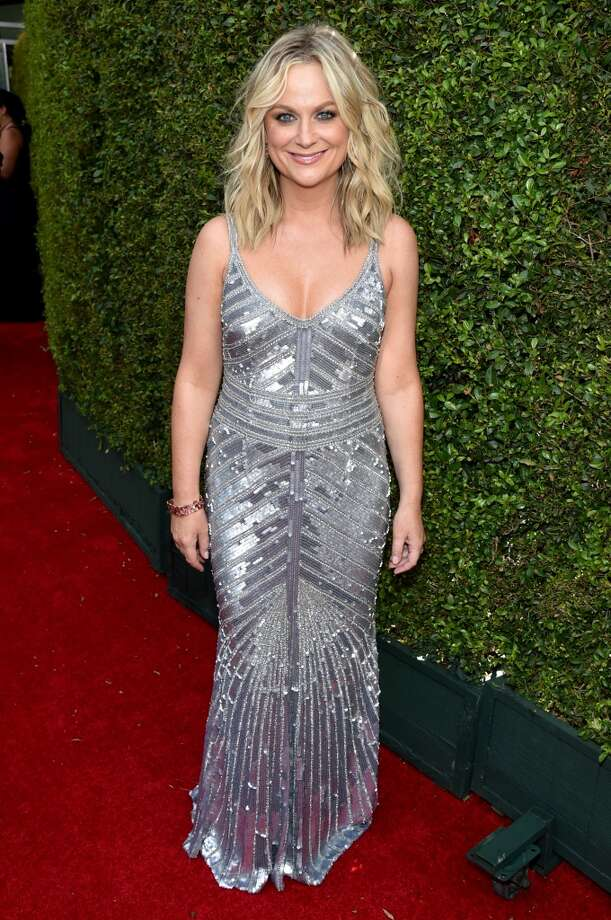 Amy Poehler arrives at the 66th Primetime Emmy Awards at the Nokia Theatre L.A. Live on Monday, Aug. 25, 2014, in Los Angeles. Photo: John Shearer, Associated Press