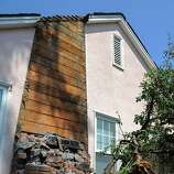 A collapsed chimney lies on the side of 540 Montgomery street on August 25, 2014 in Napa, CA.