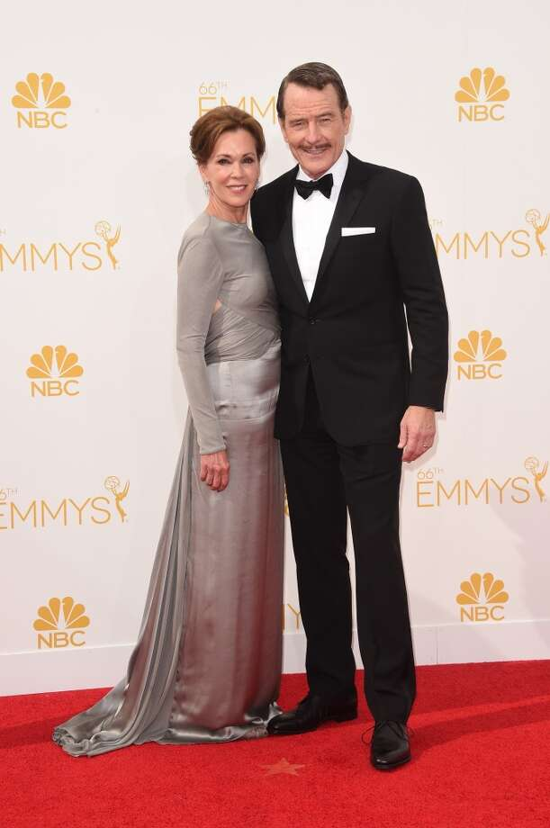Actor Bryan Cranston (R) and Robin Dearden attend the 66th Annual Primetime Emmy Awards held at Nokia Theatre L.A. Live on August 25, 2014 in Los Angeles, California. Photo: Jason Merritt, Getty Images