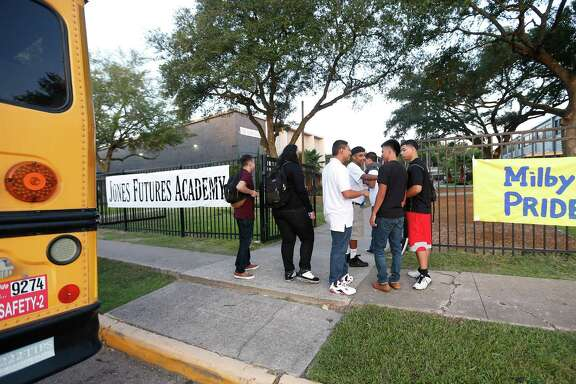 Milby High School students arrived Monday at their new but temporary campus at Jones High School, on the first day of school.