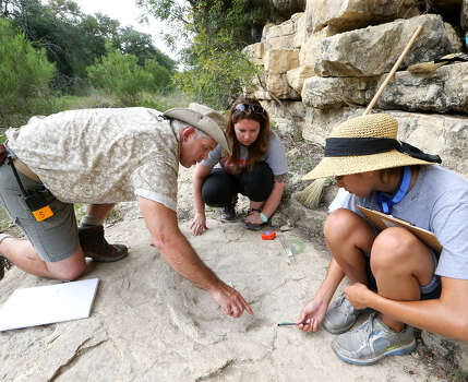 Thomas Adams (from left) assists volunteers Diana Price and Jennifer Shaeffer in measuring the rear foot of a sauropod, a plant-eating dinosaur, in Government Canyon State Natural Area. Photo: Marvin Pfeiffer/ Express-News / Express-News 2014