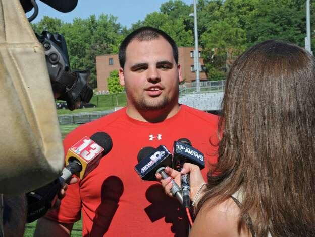 Defensive lineman Chris Ohnsman of Ballston Spa, N.Y. talks to the press during RPI football's annual media day on Monday, Aug. 25, 2014 in Troy, N.Y. (Lori Van Buren / Times Union) Photo: Lori Van Buren / 00028320A