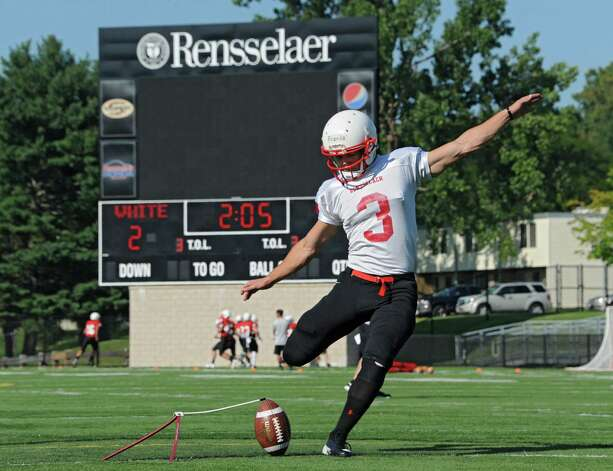 Kicker Andrew Franks of Carmel, CA kicks the ball during practice after RPI football's annual media day on Monday, Aug. 25, 2014 in Troy, N.Y. (Lori Van Buren / Times Union) Photo: Lori Van Buren / 00028320A