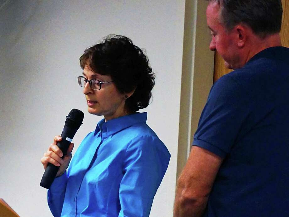 Representative Town Meeting members Carol Pontrelli, R-9, and John Donovan, R-1, tried to get a sense o the body resolution regarding Penfield Pavilion on the RTM agenda Monday night. Photo: Genevieve Reilly / Fairfield Citizen