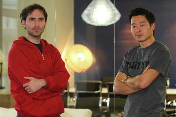 Twitch founders Emmett Shear, left, and Justin Kan, shown in 2011, have a multi-channel online network.