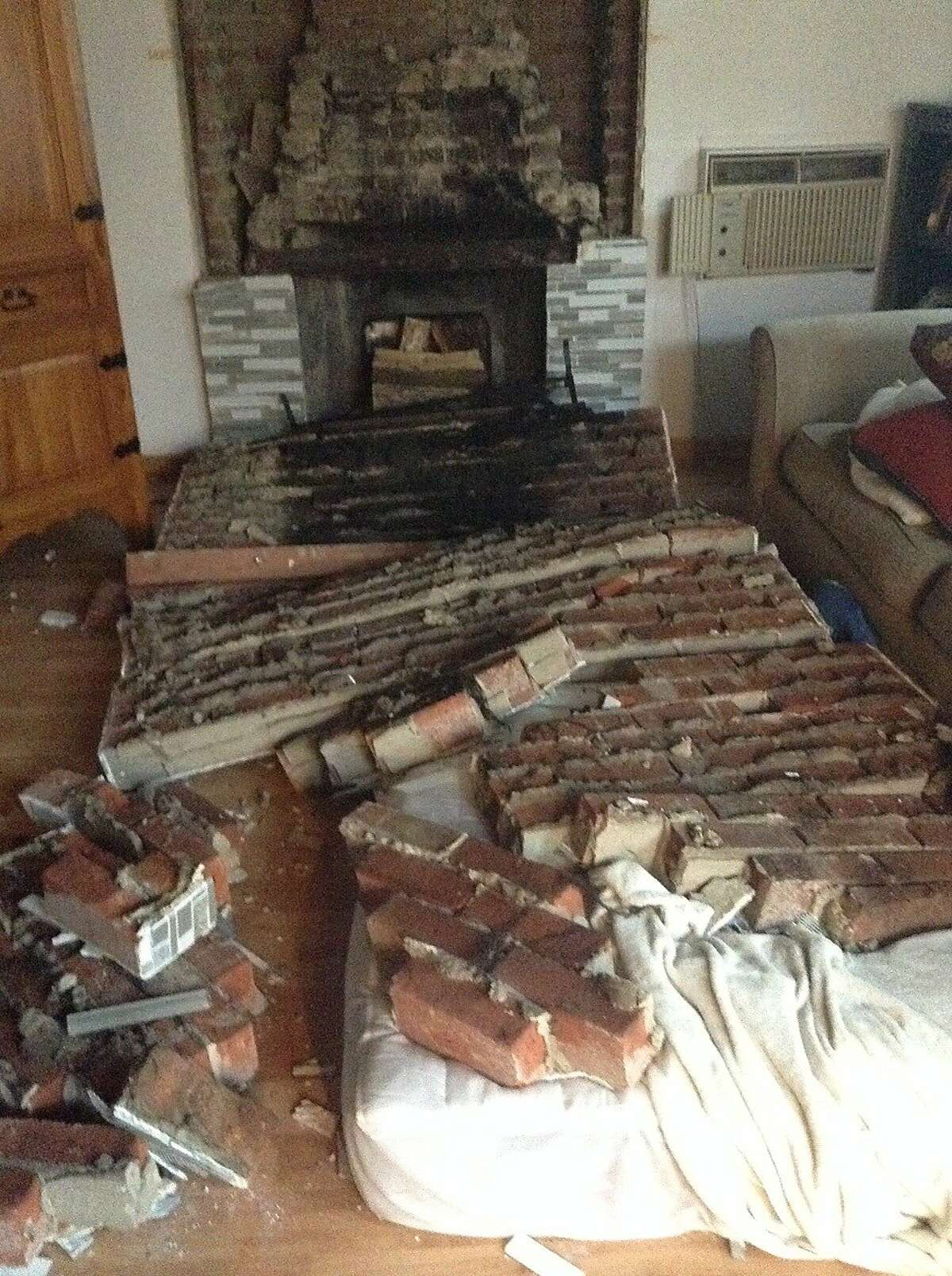 The chimney that fell on Nicholas Dillon during the Northern California earthquake on Sunday, Aug. 24, 2014.
