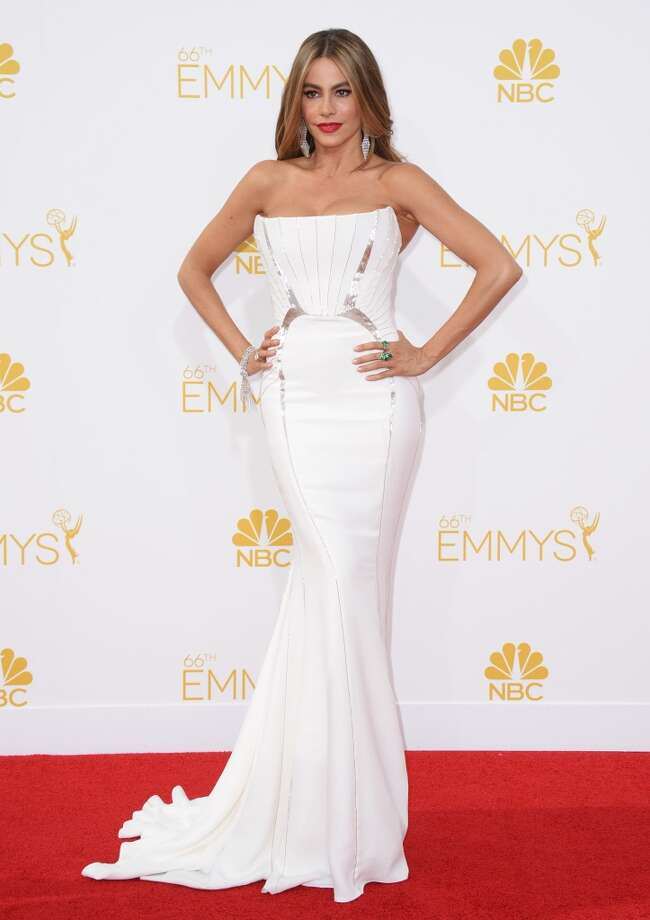 Sofia Vergara arrives at the 66th Annual Primetime Emmy Awards at the Nokia Theatre L.A. Live on Monday, Aug. 25, 2014, in Los Angeles. Photo: Jordan Strauss, Associated Press