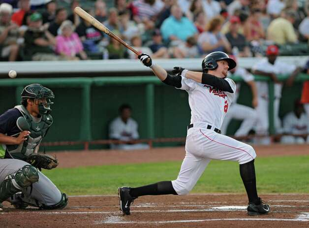 Tri-City ValleyCats batter Derek Fisher swings for the ball during a baseball game against the Vermont Lake Monsters at Joe Bruno Stadium on Monday, Aug. 25, 2014 in Troy, N.Y. (Lori Van Buren / Times Union) Photo: Lori Van Buren / 00028302A