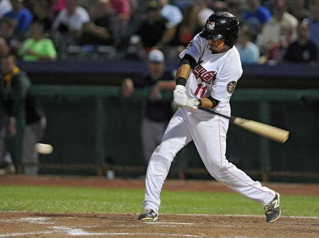 Tri-City ValleyCats batter Jason Martin swings for the ball during a baseball game against the Vermont Lake Monsters at Joe Bruno Stadium on Monday, Aug. 25, 2014 in Troy, N.Y. (Lori Van Buren / Times Union) Photo: Lori Van Buren / 00028302A