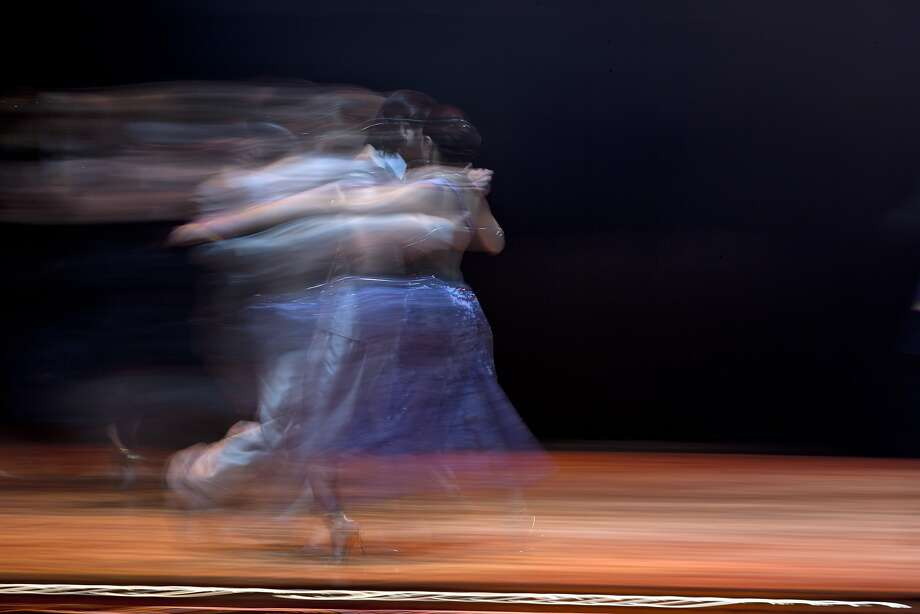 A tango couple competes during  the 2014 Tango World Championship Salon category final in Buenos Aires, Argentina, Monday, Aug. 25, 2014.  (AP Photo/Natacha Pisarenko) Photo: Natacha Pisarenko, Associated Press
