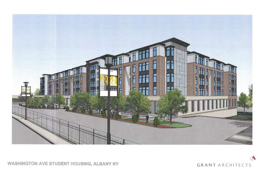 A rendering of the student housing complex being proposed by a private developer for Washington Avenue across from the University at Albany.  The building would be four stories of residential space with one level of parking at ground level and one level of parking below grade.(Grant Architects) Photo: Hershberg & Hershberg