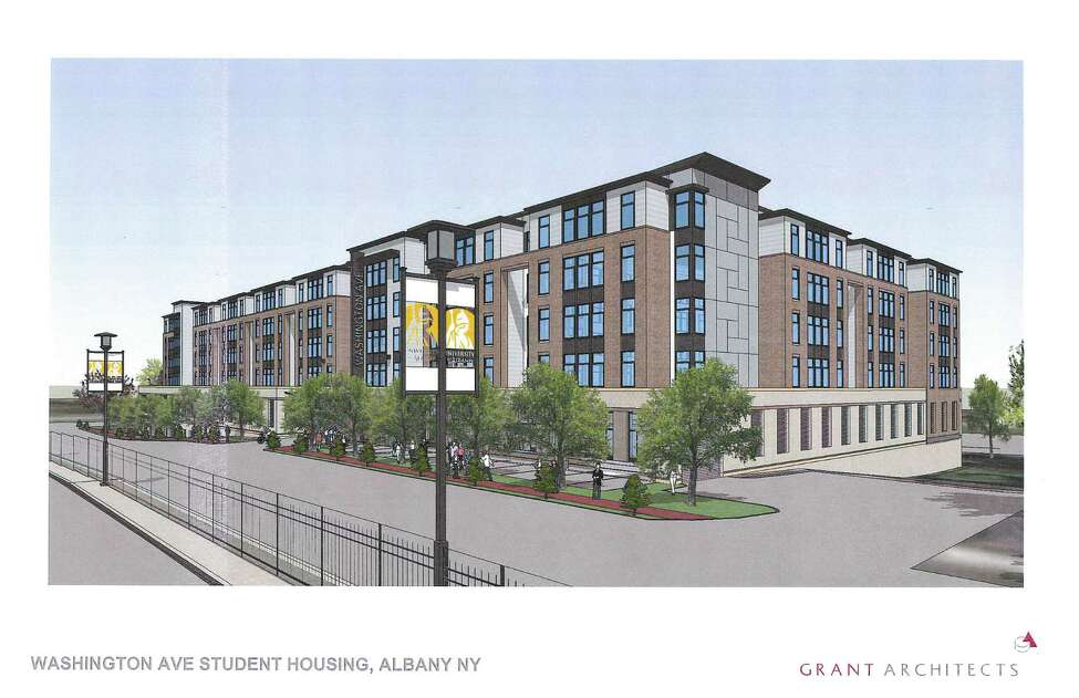 A rendering of the student housing complex being proposed by a private developer for Washington Avenue across from the University at Albany. The building would be four stories of residential space with one level of parking at ground level and one level of parking below grade.(Grant Architects)
