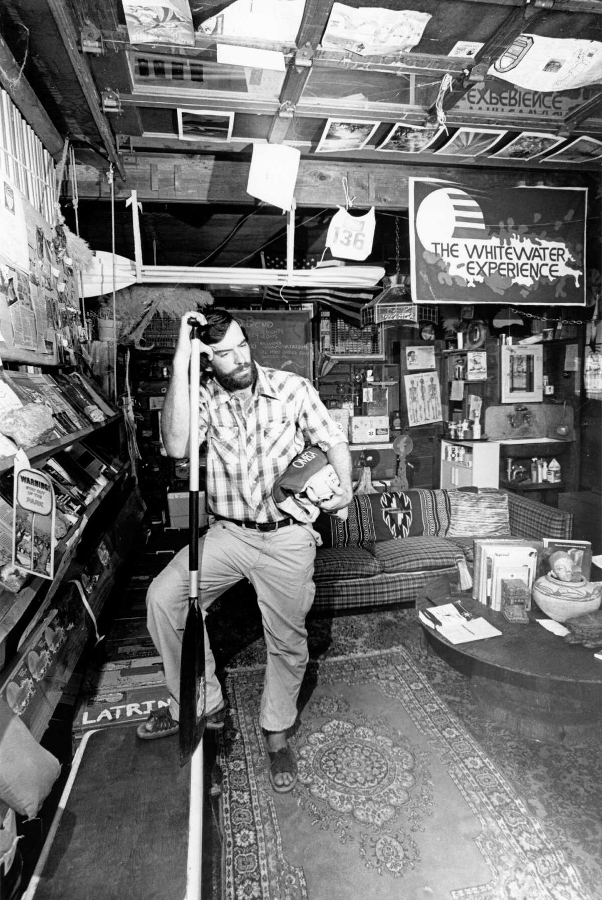 07/17/1980 - Whitewater guide and outfitter Don Greene in his shop.