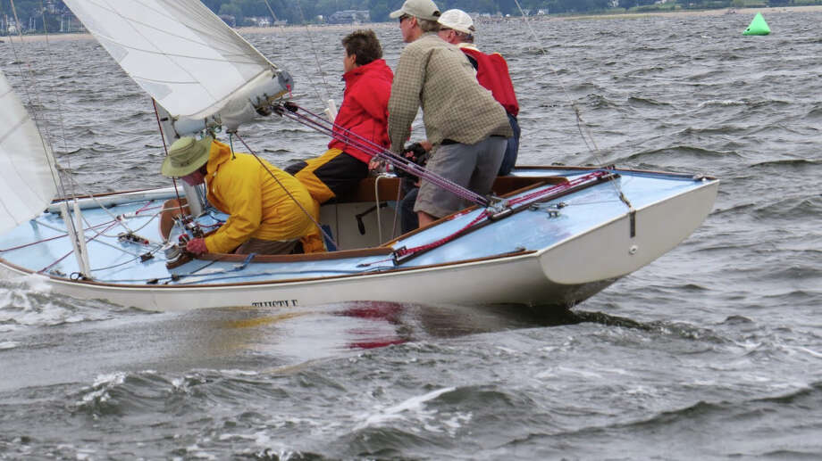 Westport's Mark Foster leads Thistle to a second-place finish at the 2014 Atlantic Class National Championships, a regatta held at Cedar Point Yacht Club last weekend. Foster's crew were Kim Stevens, Thurston  Hartford and John Verelley. Photo: Contributed Photo / Westport News Contributed