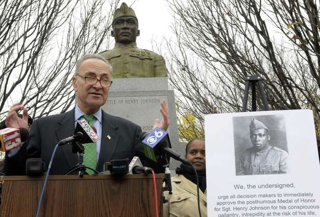 Sen. Chuck Schumer talks about  efforts to get the Medal of Honor for Henry Johnson Wednesday, Oct. 24, 2012,  in Albany, N.Y. (Michael P. Farrell/Times Union archive) Photo: Michael P. Farrell / 00019813A