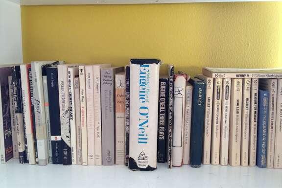 Maggie Galehouse's drama shelf.