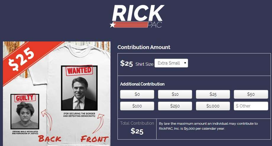 Gov. Rick Perry's political action committee RickPAC is selling t-shirts featuring the recently-indicted Perry's mughsot on the front and Travis County District Attorney Rosemary Lehmberg's booking photo from a 2013 drunk driving arrest on the back.