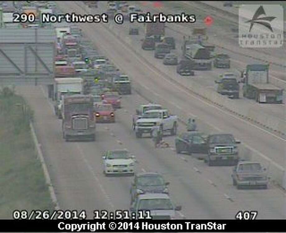 Portions of U.S. 290 were shutdown Tuesday after a woman got out of a moving pickup on the freeway in northwest Houston. (Photo from Houston TranStar)