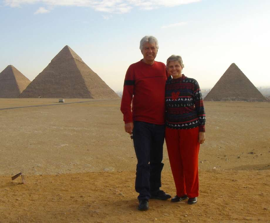 Deanna Van Pelt and Frank Gonzales at the Egyptian pyramids. Photo: Courtesy Photo