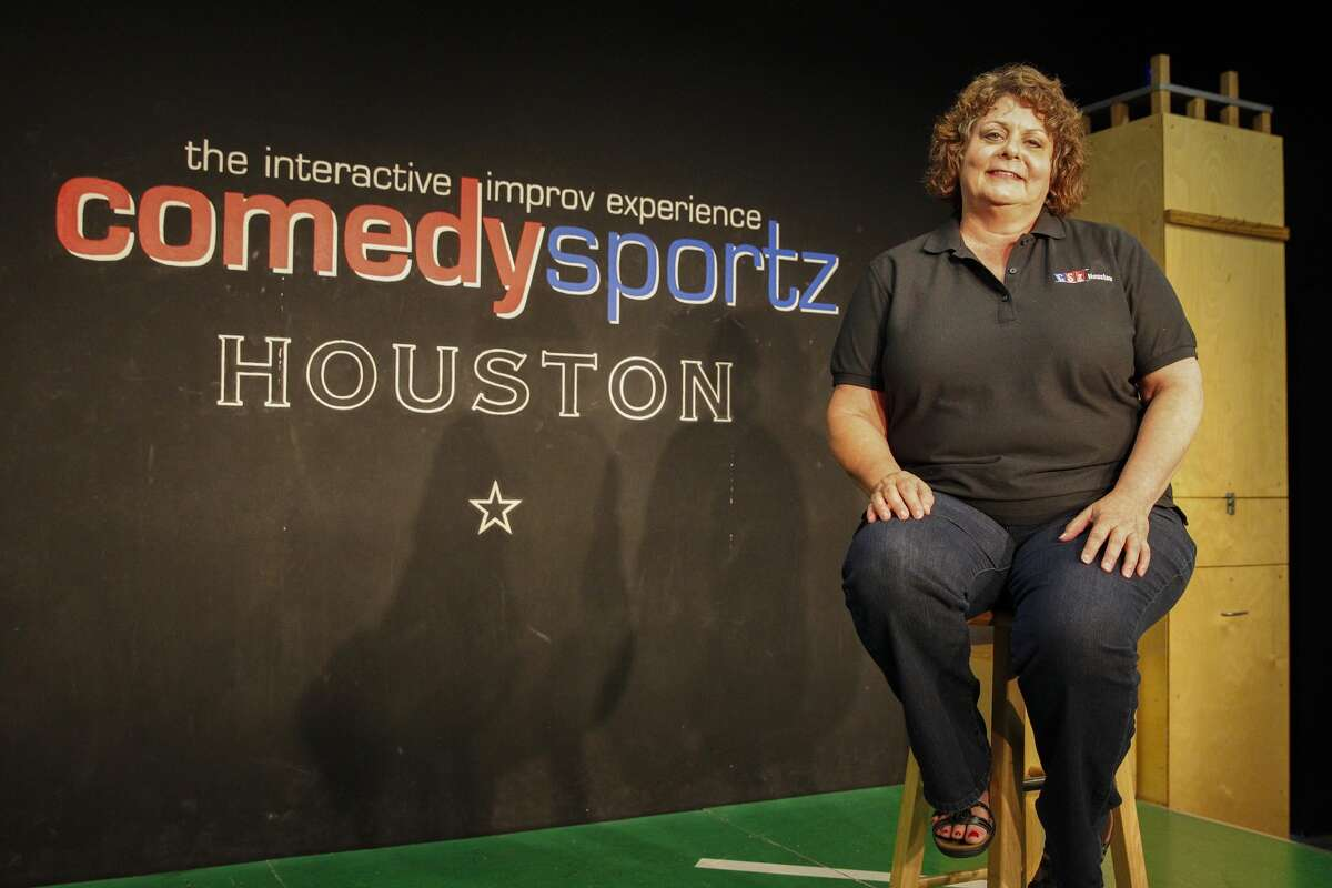Dianah Delooney sits on stage at the ComedySportz club in Houston. She is the one of the original members of the comedy group. The group will perform their last show in their present location on August 30, 2014.
