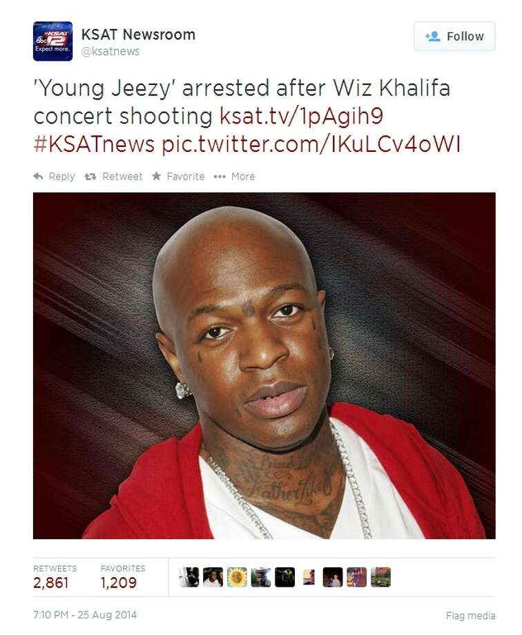 A tweet posted Monday by local TV station KSAT about the arrest of a rapper in California has been shared almost 3,000 times because it included a photo of a completely different rapper.