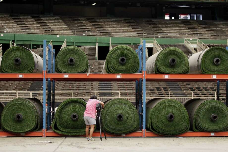 Turf for the NRG stadium is store inside of the Astrodome Photo: Johnny Hanson / Houston Chronicle