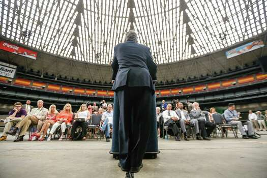 "Harris County Judge Ed Emmett announces a plan to turn the Astrodome into ""the world's largest indoor park."" Photo: Johnny Hanson / Houston Chronicle"