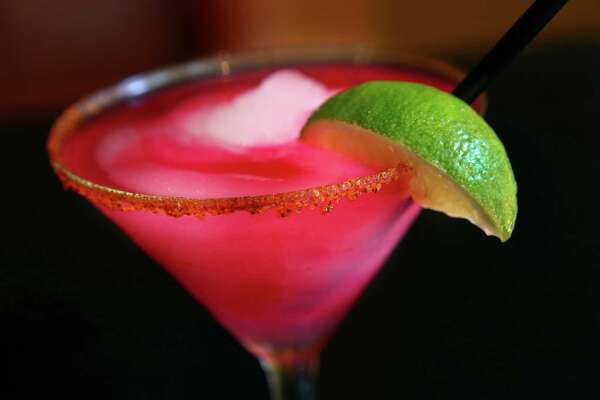 The prickly pear margarita is pictured on Monday, June 16, 2014, at Boudro's in San Antonio.