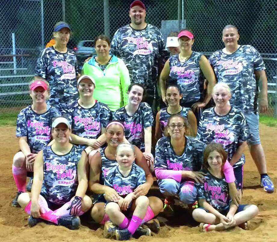 Women's champs!  The Ponytail Express proved to be the class of the women's league in New Milford Parks & Recreation adult slowpitch softball this summer. The Express emerged from recent playoffs with the 2014 title thanks to the efforts of, from left to right, front row, Stephanie Dumas, Michelle McNamara, with her daughter, Cienna, Heather Lake and Kasey Veach; middle row, Amy Shanks, Suzanne de Bary, Jess Murphy, Lia Evaristo and Dina Dufresne; and, back row, Brenda Bartram, Kim Doris, coach Ricky Doychak, Connie Hedden, Collene Gregory and Kelly Legg. Thosxe absent who made contributions to the champions' cause this season were Meeghan Doris, Stacy Sullivan, Theresa Oria and Kim Whyte.  Courtesy of Michelle McNamara Photo: Contributed Photo / The News-Times Contributed