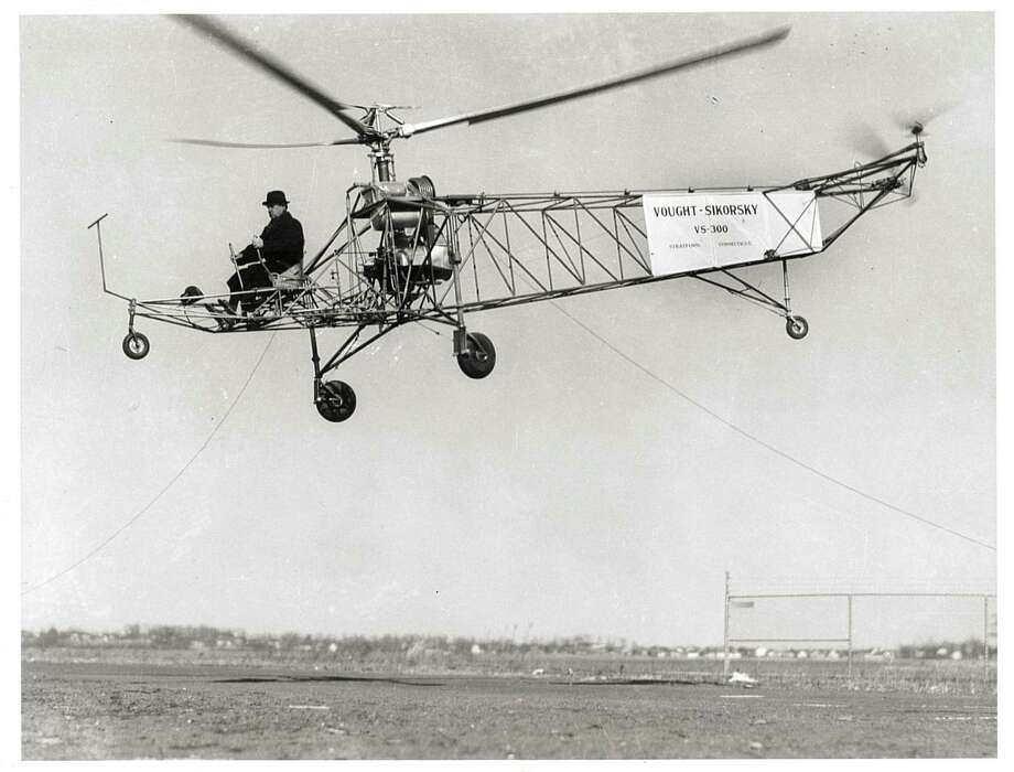 An undated file photo of Igor Sikorsky (1889-1972), piloting a VS-300 helicopter. Sikorsky was a Russian born aviation pioneer and founder of Stratford based Sikorsky Aircraft. Photo: File Photo / Connecticut Post File Photo