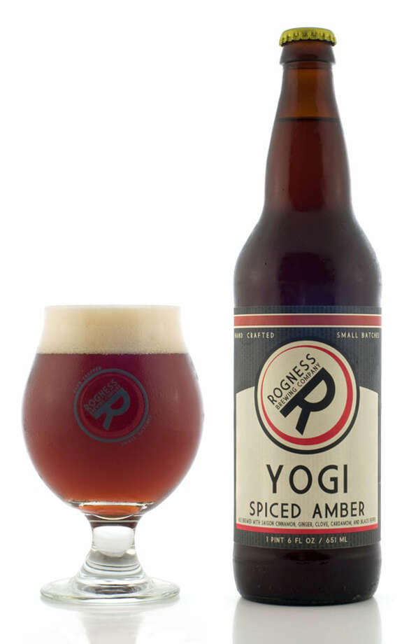 "Yogi: Chai spiced amber, 5.2 pecent ABV From the brewery: ""Yogi has a rich copper color and fragrant aromas of chai. Saigon cinnamon, clove, ginger, cardamom, and black pepper create an exotic flavor profile. Caramel notes are offset by rich tannins."" Photo: Rognessbrewing.com"