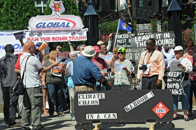 Oil train opponents rally in front of the Governor's Mansion on Tuesday, Aug. 26, 2014 in Albany, N.Y.  (Lori Van Buren / Times Union) Photo: Lori Van Buren, Albany Times Union / 00028281A