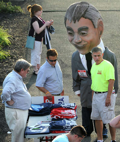 Republican candidate for state comptroller Bob Antonacci, right, campaigns outside at the ValleyCats game at Joe Bruno Stadium on Monday, Aug. 25, 2014 in Troy, N.Y. Antonacci is the Onondaga County Comptroller. (Lori Van Buren / Times Union) Photo: Lori Van Buren, Albany Times Union / 00028324A