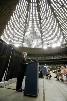 Harris County Judge Ed Emmett makes his suggestion to turn the Astrodome into the world's largest indoor park during a press conference at the historic domed stadium Tuesday, Aug. 26, 2014, in Houston. (AP Photo/Pat Sullivan) Photo: Pat Sullivan, Associated Press / AP