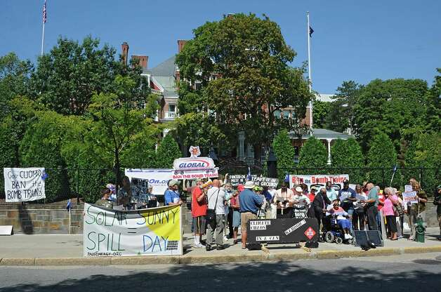 Oil train opponents rally in front of the Governor's Mansion on Tuesday, Aug. 26, 2014 in Albany, N.Y.  (Lori Van Buren / Times Union) Photo: Lori Van Buren / 00028281A