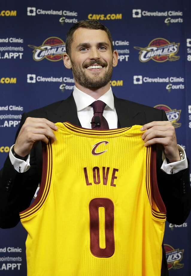 Kevin Love, acquired in a blockbuster deal, is introduced in Cleveland. Photo: Mark Duncan, Associated Press